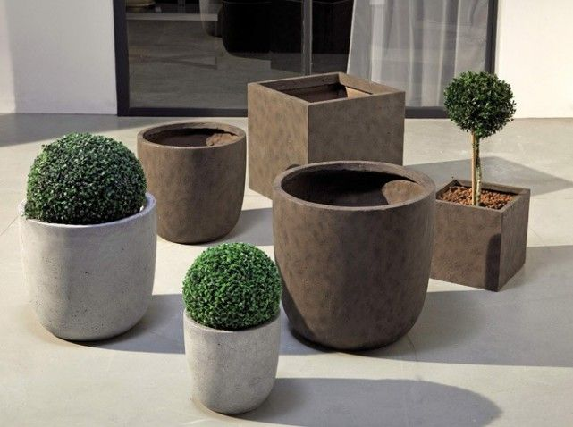 Pot Rond Beton Haut | Pots Fleurs | Pinterest | Pot Exterieur