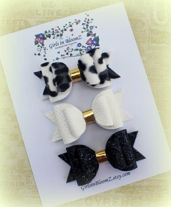 Black and white hair bows set/Girls glitter hair bows/Glitter bows/Blue glitter bow//Black hair bow/Toddler hair bows/Glitter bow headband