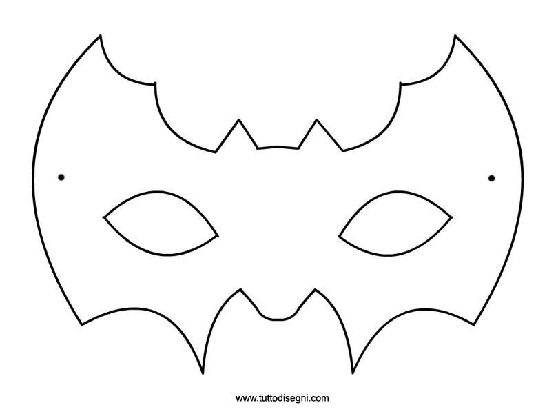 Maschera pipistrello da colorare costumi bimbi for Maschere stampabili