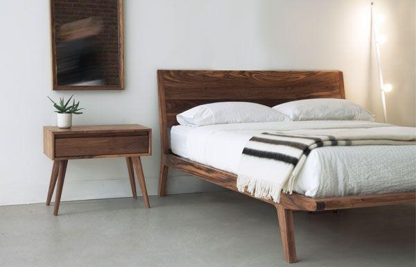 Lit En Bois Massif Sur Pattes Wood Headboard Bed Headboard