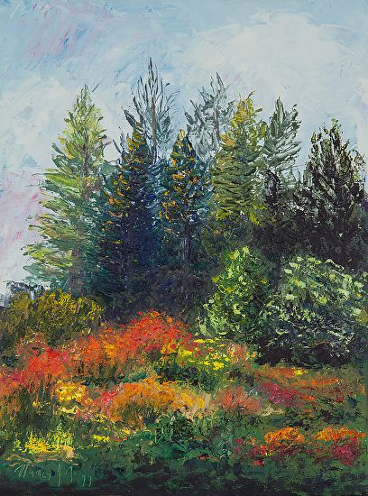 Red Flowers and Pines by Nancy Gregg Oil ~ 12 x 9