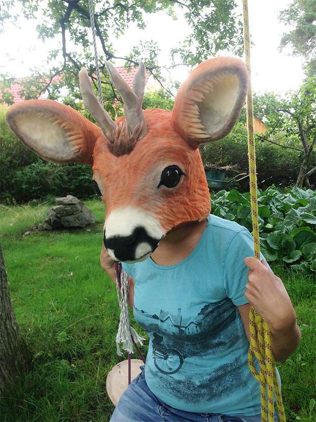 Roe deer mask | Puppets and masks by Anna Granberg