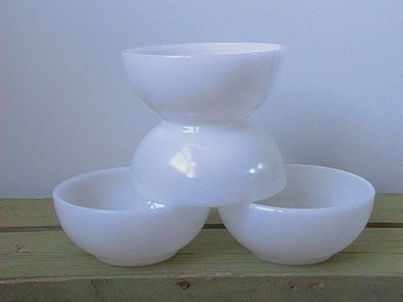 Anchor Hocking Fire King White Chili Bowls Set Of Four by nddevens, $24.00