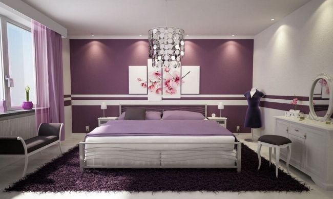 Wohnideen schlafzimmer modern lila blumen wanddeko