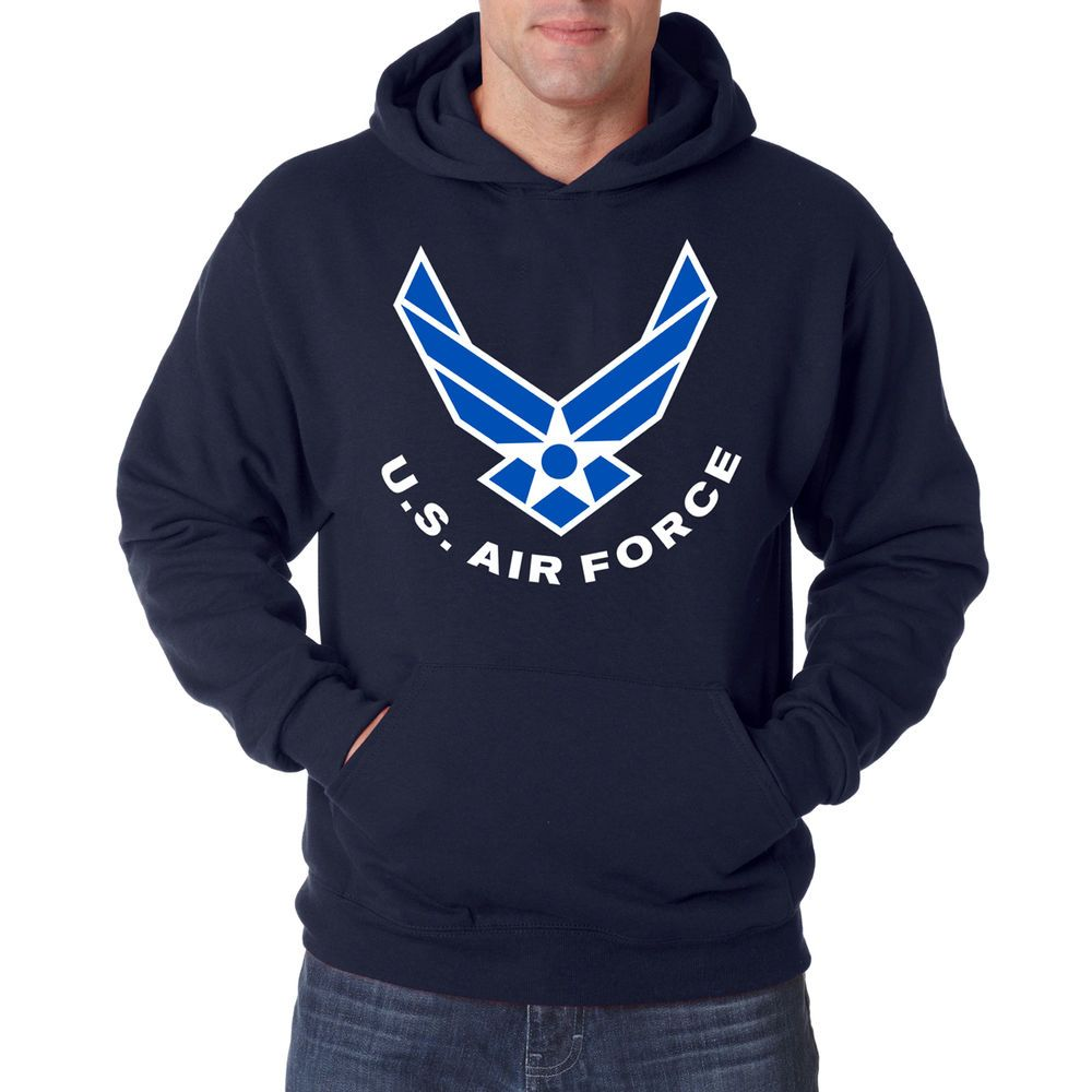 Details about AIR FORCE ARCHED NAVY HOODIE Airforce Hooded
