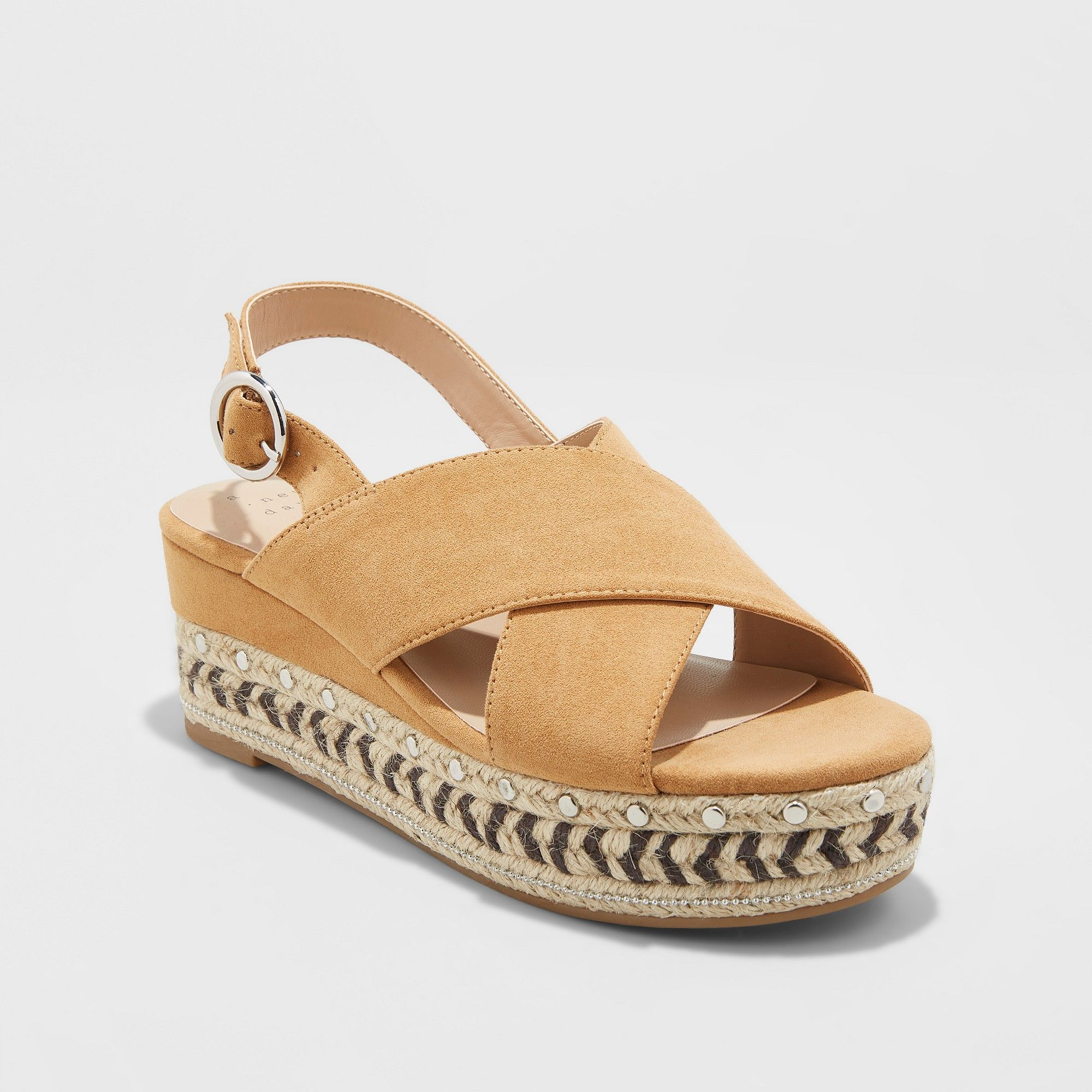19f52182895 Women s Trista Mixed Media Wedge Espadrille - A New Day Tan 8.5 ...