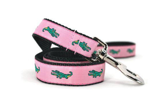 4582b851979e2 A preppy Lacoste-inspired dog leash with green alligators woven into ...