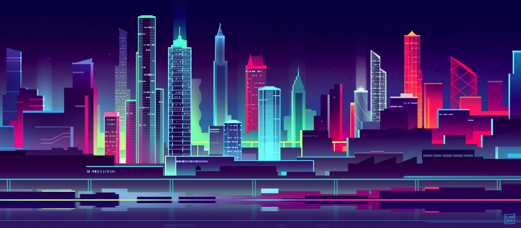 View Cityscape Vaporwave Poster Wallpapers