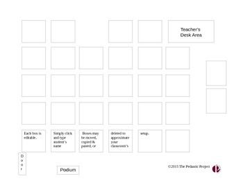 This Seating Chart Template Has Editable Boxes For Desks And Classroom Areas You Can Copy And Paste Box Seating Charts Seating Chart Template Classroom Layout