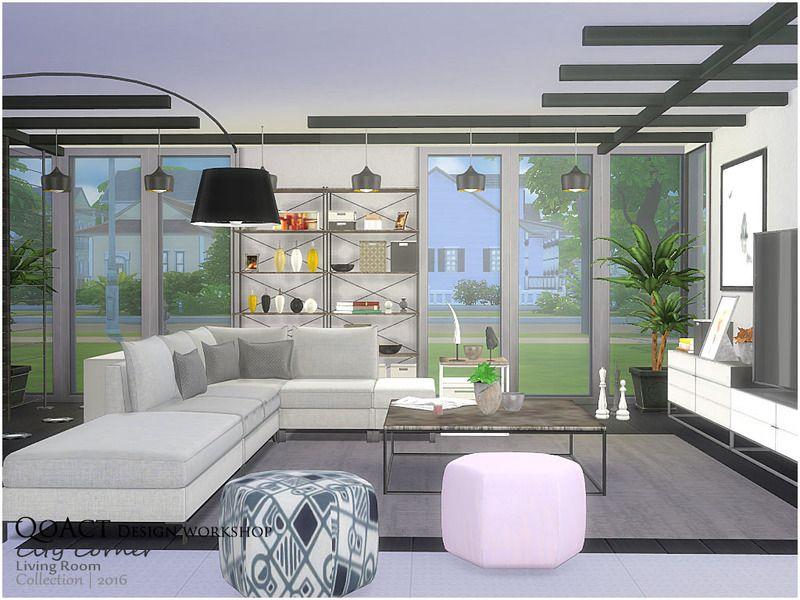 the sims 4 cc  qoact  city corner living room set