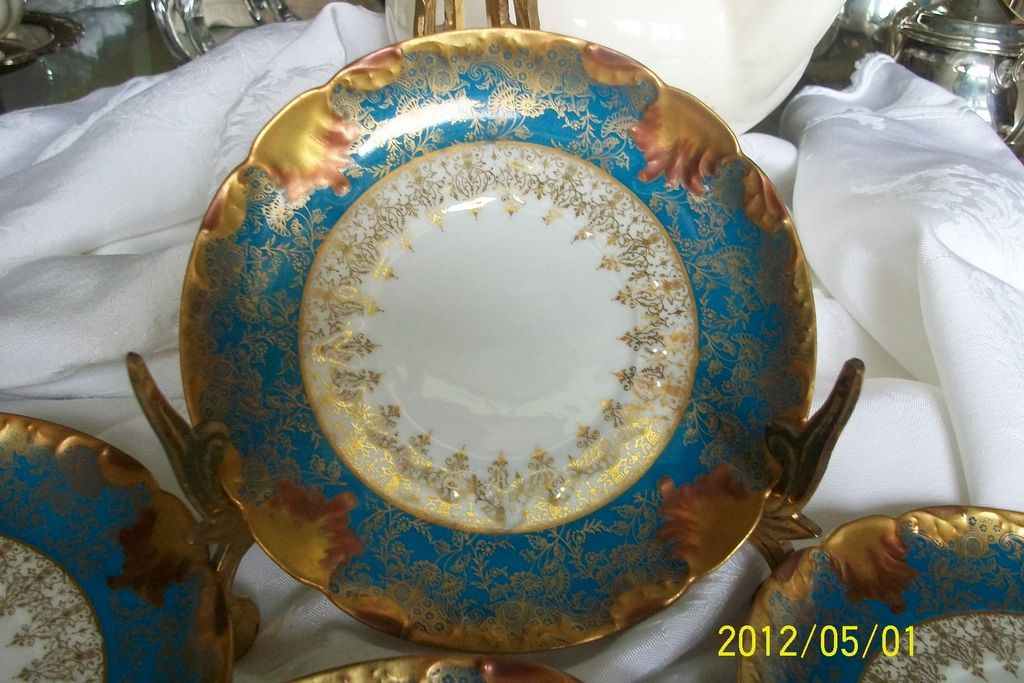 Vintage Limoges underplates, perfect for desert or tea. Late 19th century hand painted gold accents on Royal Blue on white porcelain. So elegant!
