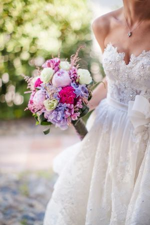sparkling lace pnina tornai and a colourful bouquet