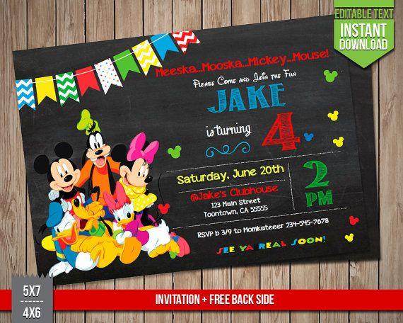 DISNEY FRIENDS Invitation Mickey Goofy Donald Minnie Invite