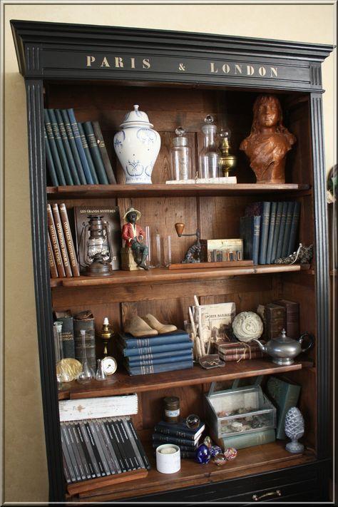 bibliothèque des curiosités idees deco Pinterest Armoires - moderniser des vieux meubles