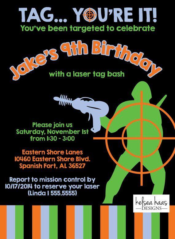 c46c4907f2d8 Laser Tag Invitation, Digital Printable, DIY, Laser Tag Birthday ...