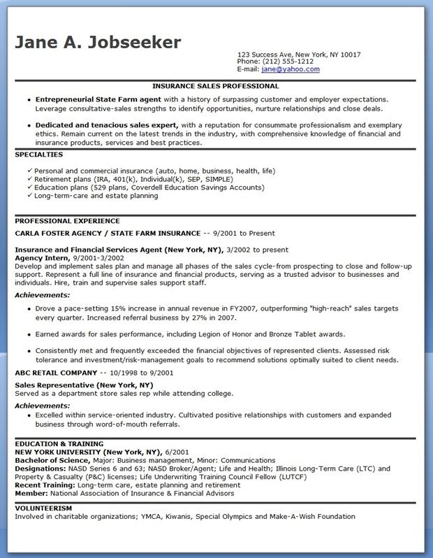 Insurance Sales Representative Resume Sample Creative Resume - insurance personal sample resume