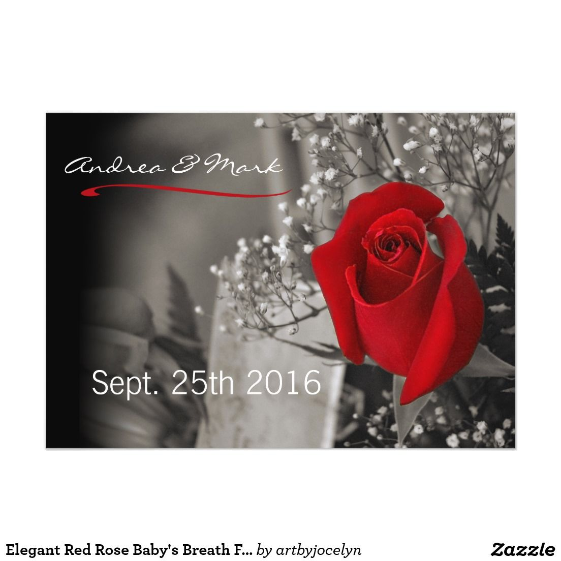 Elegant Red Rose Baby\'s Breath Fade Out Black Magnetic Invitations ...