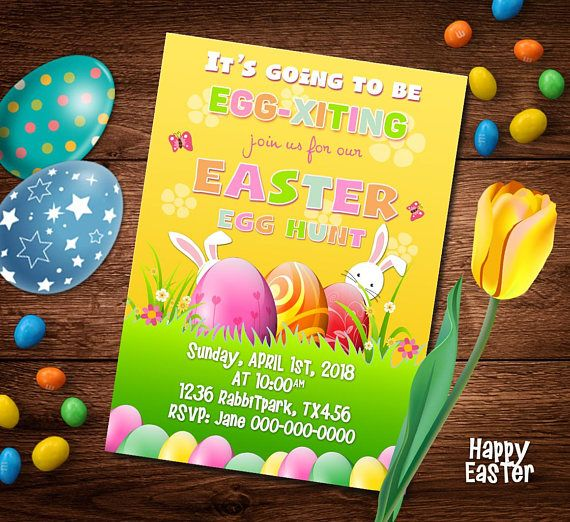 Easter party invitation Card Easter Egg hunt invitation