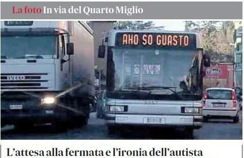 "Roma. Bus in ritardo, il messaggio dell'autista: ""Ahò, so guasto"" http://www.blitzquotidiano.it/foto-notizie/roma-bus-in-ritardo-il-messaggio-dellautista-aho-so-guasto-foto-1823264/ … pic.twitter.com/OgNxtLXpPj"