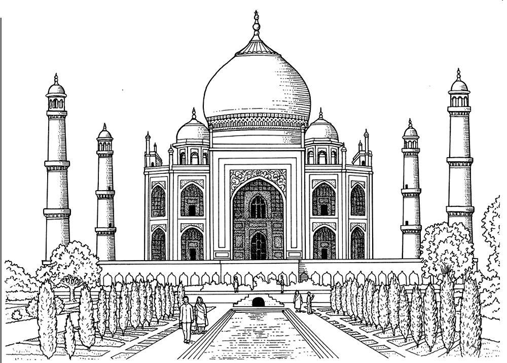 To print this free coloring page «coloring-taj-mahal
