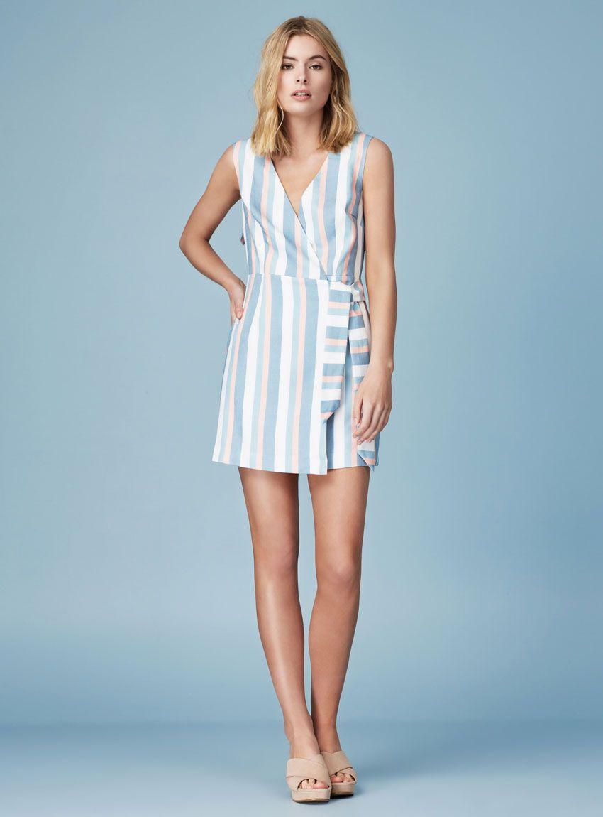 c77ee0e946 Finders Keepers Instinct Mini Dress – Pale Blue Stripe