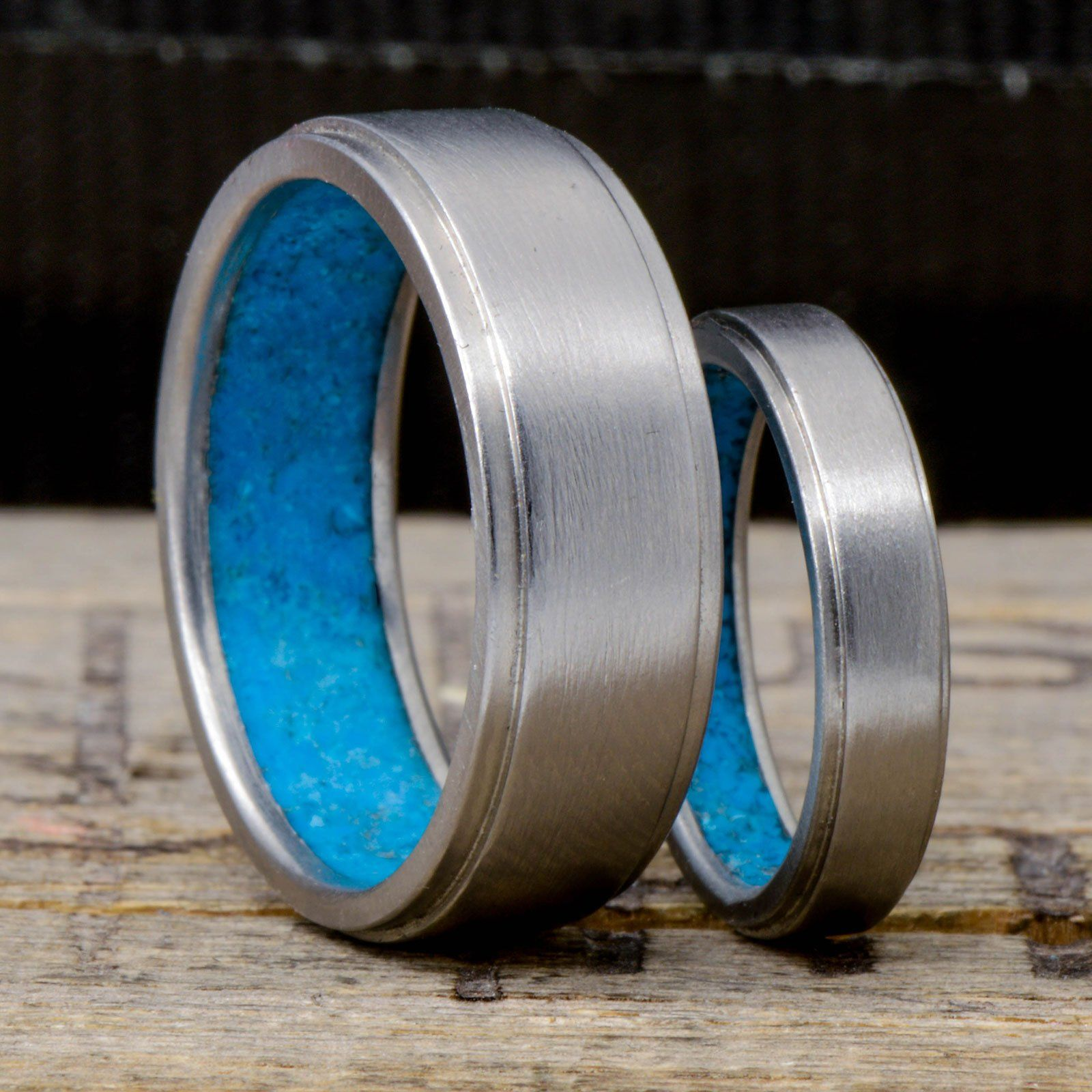 Metal Band With Turquoise Inside Band Mens Wedding Rings