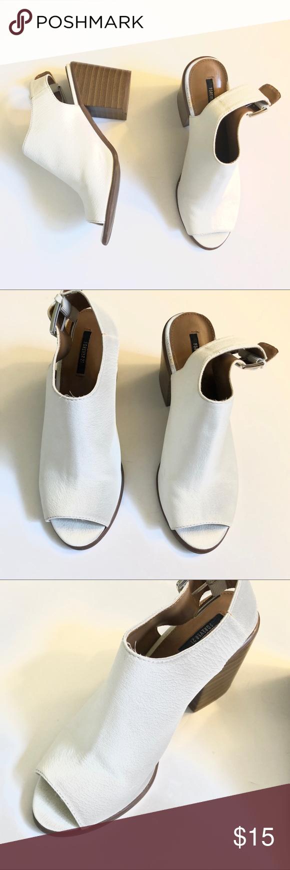 Forever 21 White Chunky Heel Mules