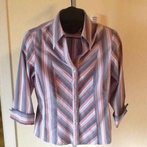 Antilia Femme Striped Stretch French Cuff Styled Shirt Sz M
