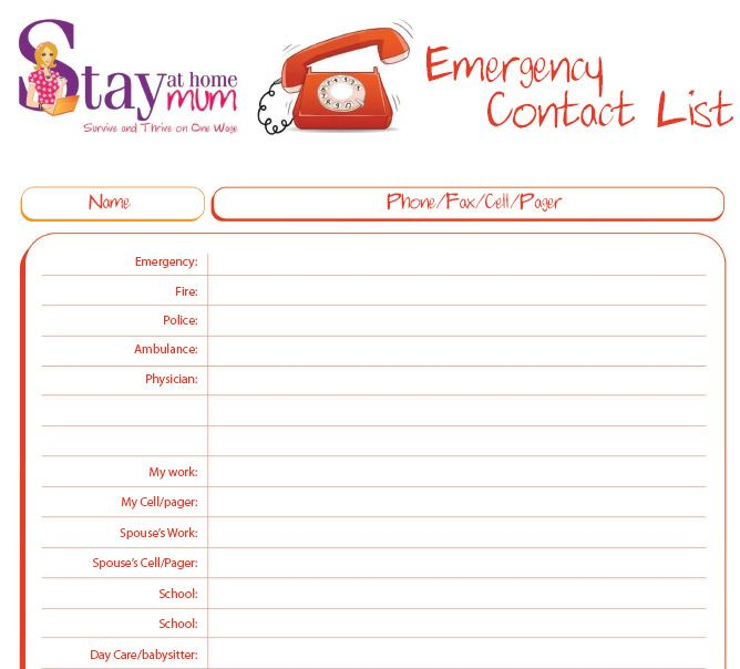 free psd template - emergency contact list (for kids, babysitters ...