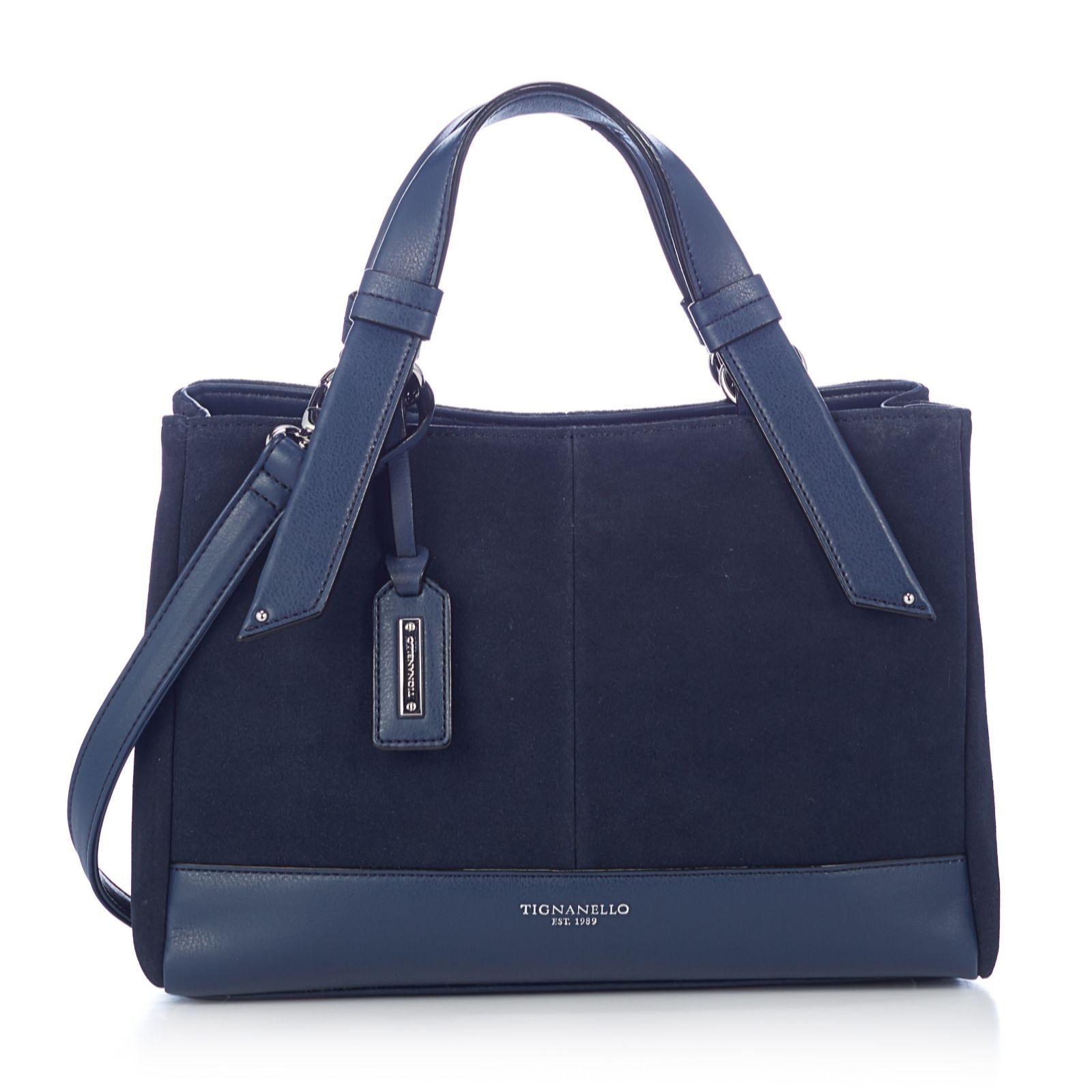 161481 Tignanello Waterproof Suede And Leather Satchel Bag With Rfid Protection Qvc Price