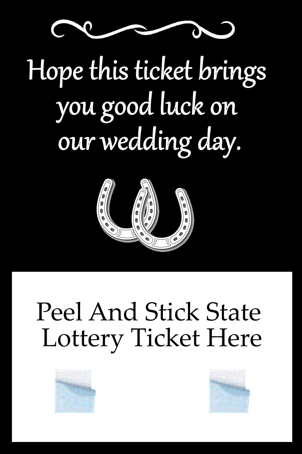 Horseshoe Good Luck Wedding Lottery Ticket Holder Favor