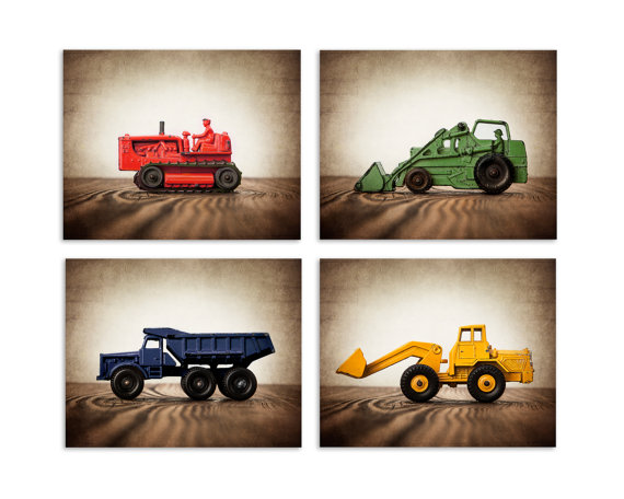 Four  Canvases Ready to Hang, Vintage Construction Vehicles in Primary Colors, On Barnwood, Diggers, Wall Art,  Kids Room, Nursery Ideas