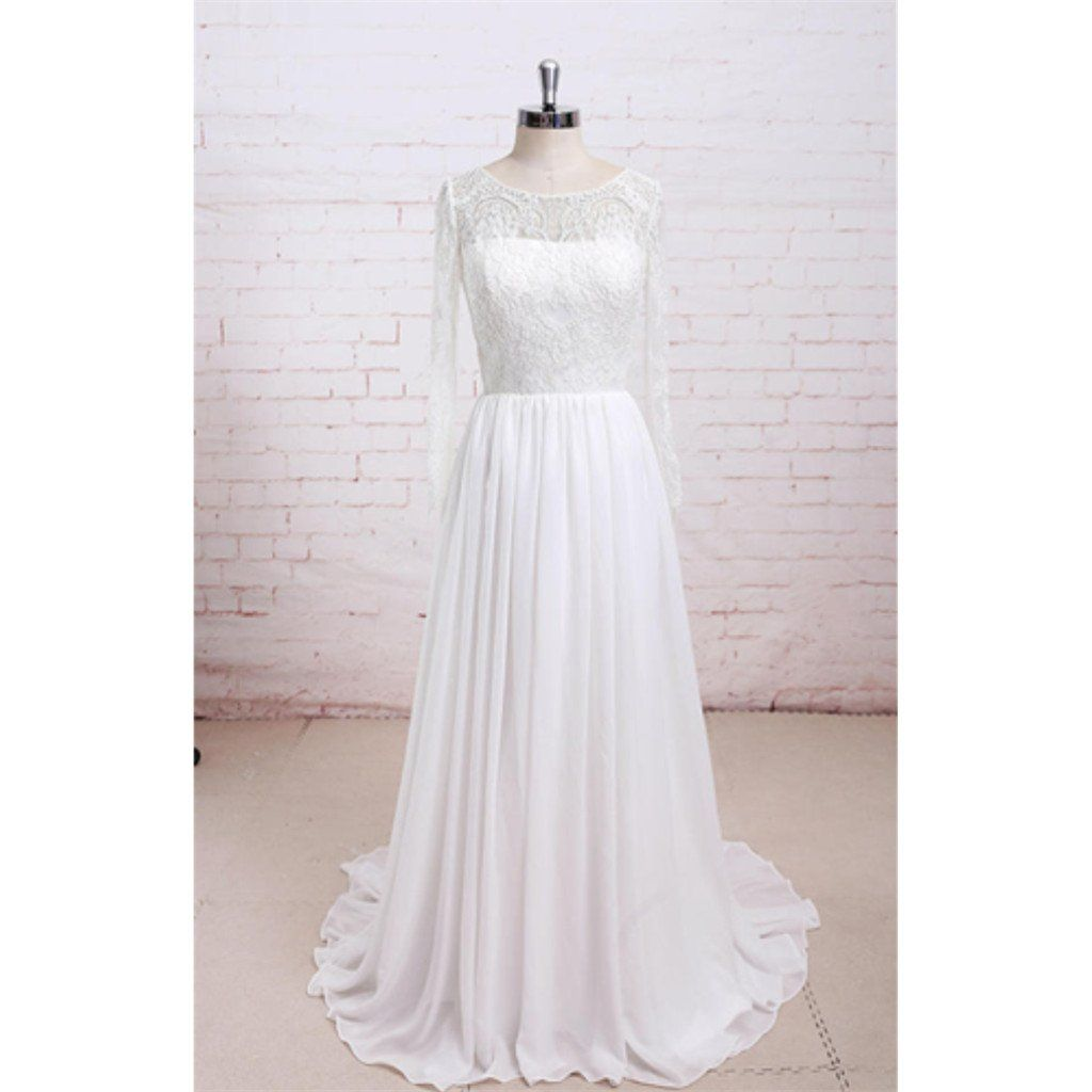 Newest round neck long sleeves lace top chiffon simple beach wedding