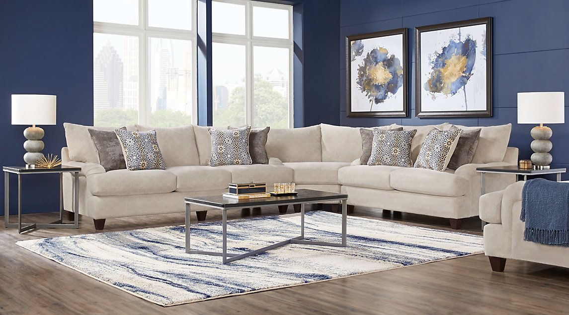 Cindy Crawford Home Palm Springs Gray 3 Pc Sectional Living Room Sets Living Room Sectional Sectional Living Room Sets