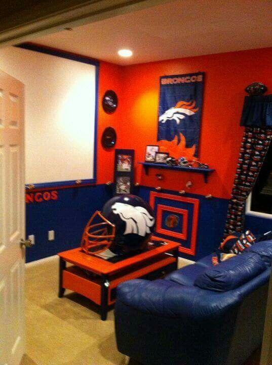 Broncos Cave With Images Denver Broncos Room Denver Broncos Football Rooms
