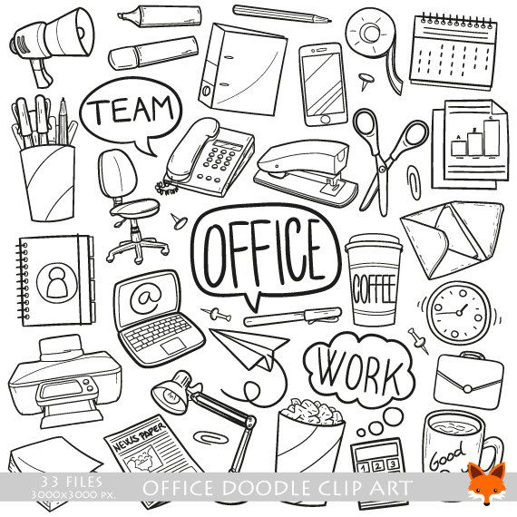Office Work Items Objects Doodle Icons Clipart Scrapbook
