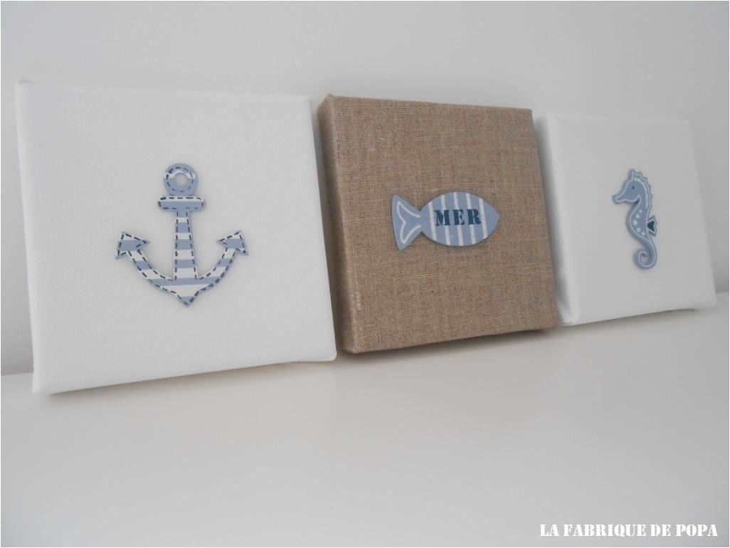 triptyque th me bord de mer taupe et bleu d corations murales par la fabrique de popa b b. Black Bedroom Furniture Sets. Home Design Ideas