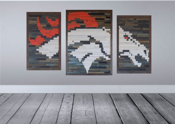 Broncos Large Reclaimed Wood Wall Art Team Pride