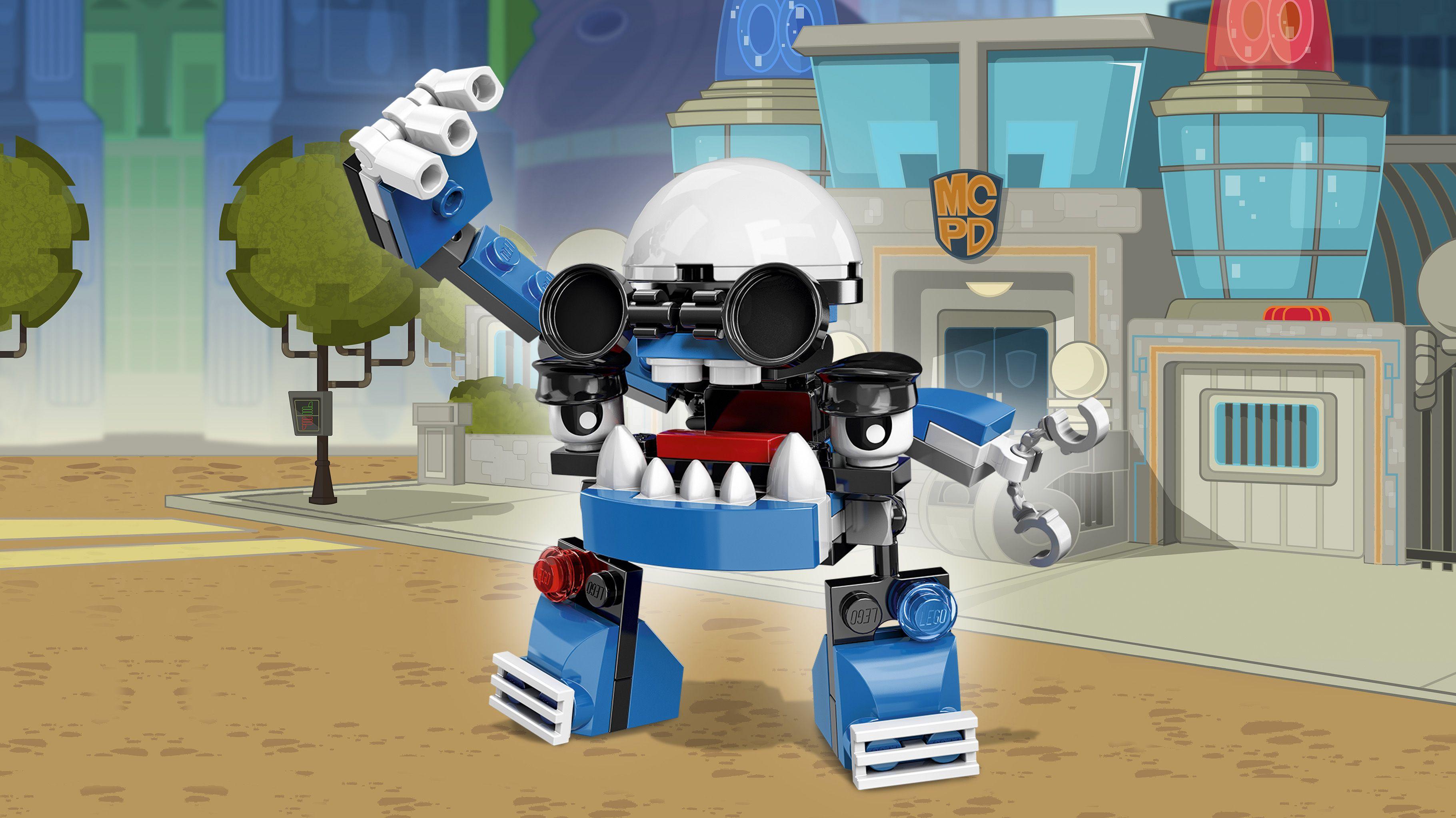 LEGO Mixels 41554 Kuffs Mit dem langen Arm des Gesetzes dieses Mixels kannst du eine rekordverdächtige Anzahl an Verhaftungen vornehmen! In Mixopolis geht es hart zur Sache und Kuffs ist genau der Richtige, um dieser Stadt zu dienen und sie zu beschützen. Dieser engagierte Polizist ist der Spitzencop des MCPD-Stammes. Doch sei gewarnt: Mitunter ist Kuffs etwas übereifrig – und dann nimmt er völlig grundlos alle und jeden fest!
