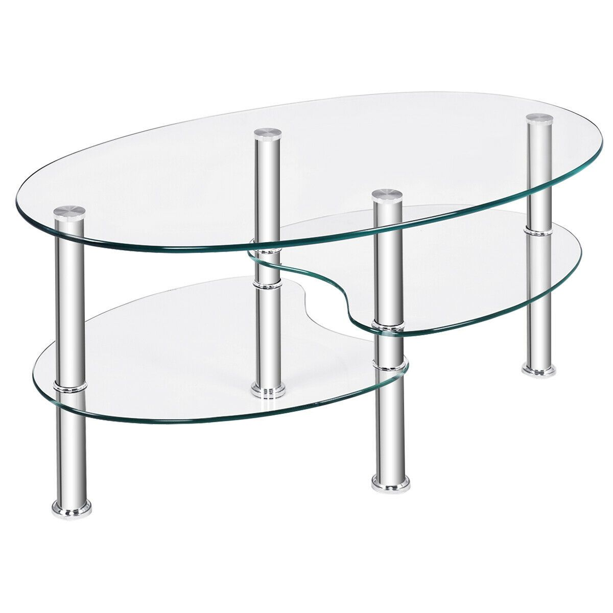 Tempered Glass Oval Side Coffee Table Shelf Chrome Base Living Room Clear New Coffee Table Side Coffee Table Elegant Coffee Table [ 1200 x 1200 Pixel ]