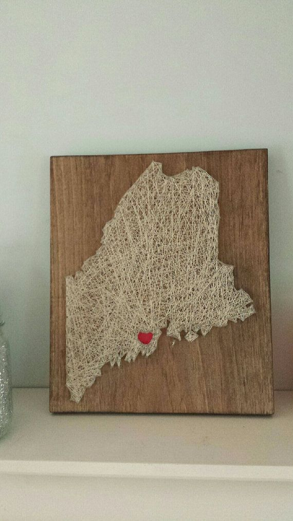 Maine art state string art on etsy gifts for Diy nail and string art