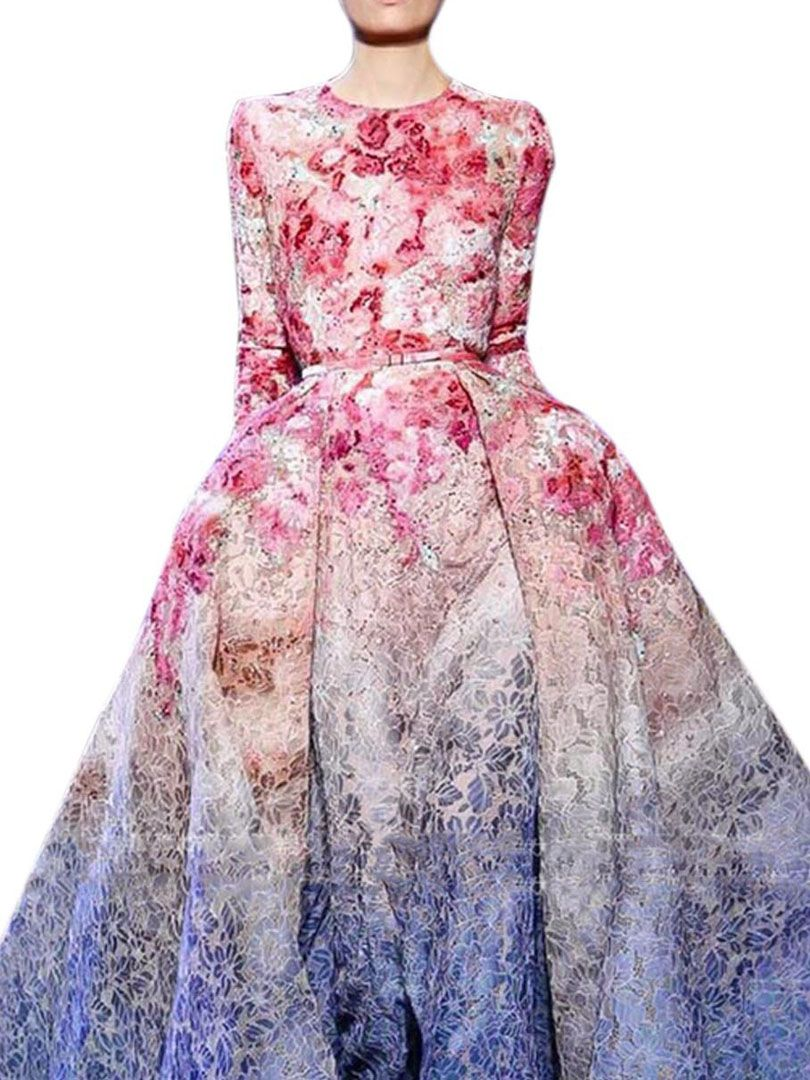 Vestido Largo Manga Larga Floral Rosado | Clothing | Pinterest ...