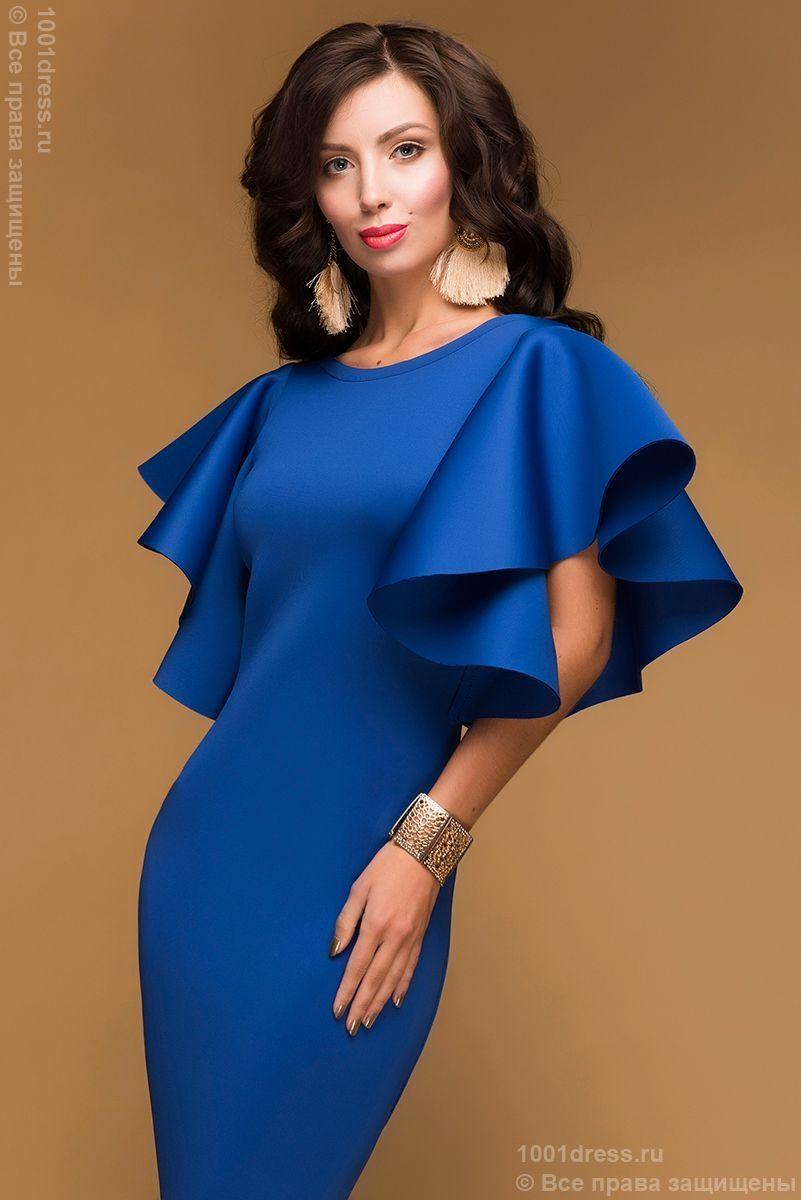 fcd16155d99c Купить синее коктейльное платье с пышными рукавами в интернет-магазине  1001DRESS