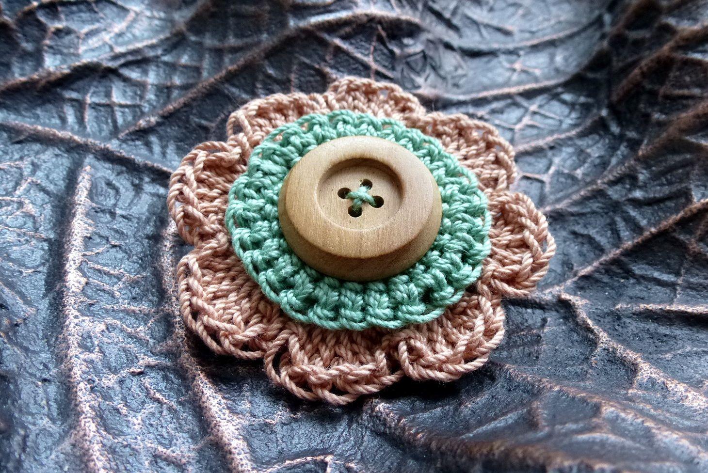 Handmade knitted brooch