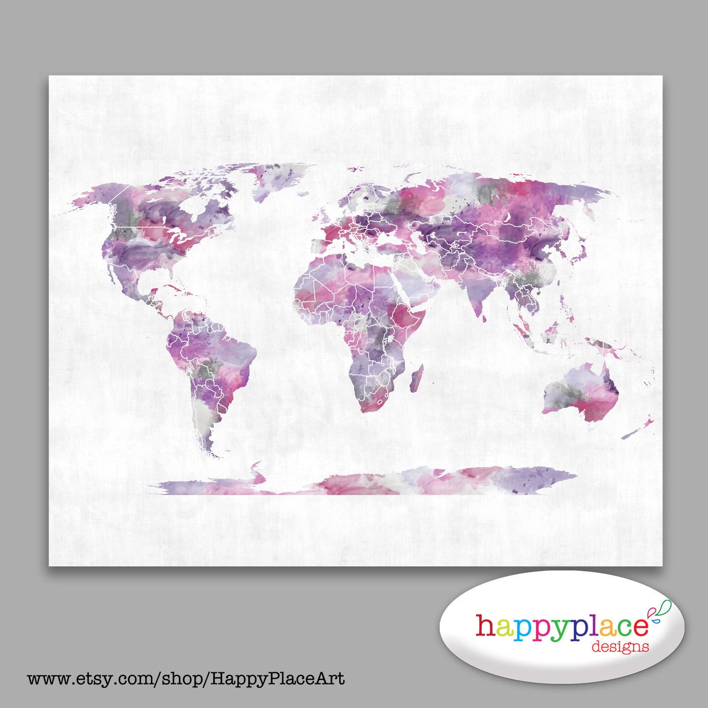 Choice of backgrounds pink and purple watercolour world map poster world map canvas pink and purple watercolor world map poster teen gift dorm wall art push pin travel map world pushpin map pink map gumiabroncs Image collections