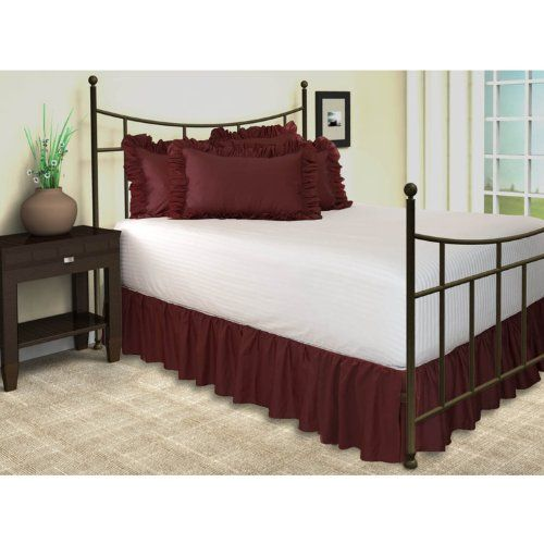 Harmony Lane Ruffled Bed Skirt With Split Corners Queen Burgundy