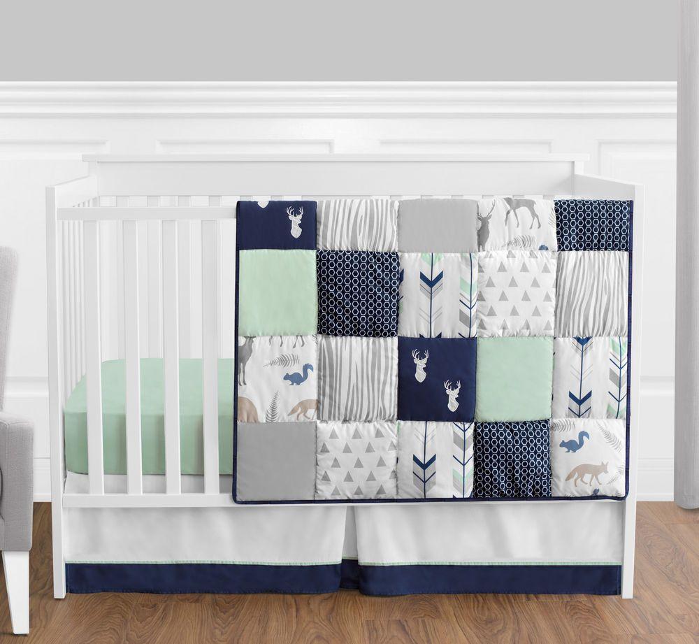 Sweet Jojo Bumperless Navy Blue Gray Forest Animal Baby Boy 4p Crib ...