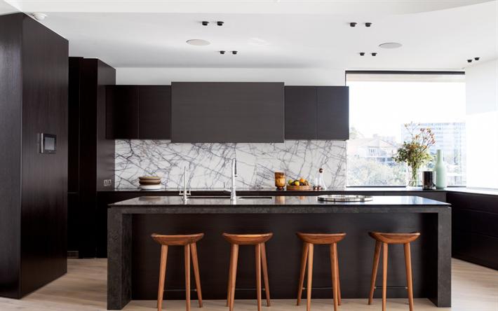 Download Wallpapers Stylish Kitchen Modern Interior Design Minimalism Dark Kitchen Furniture Besthqwallpapers Com Kitchen Renovation Kitchen Remodel Home Decor Kitchen
