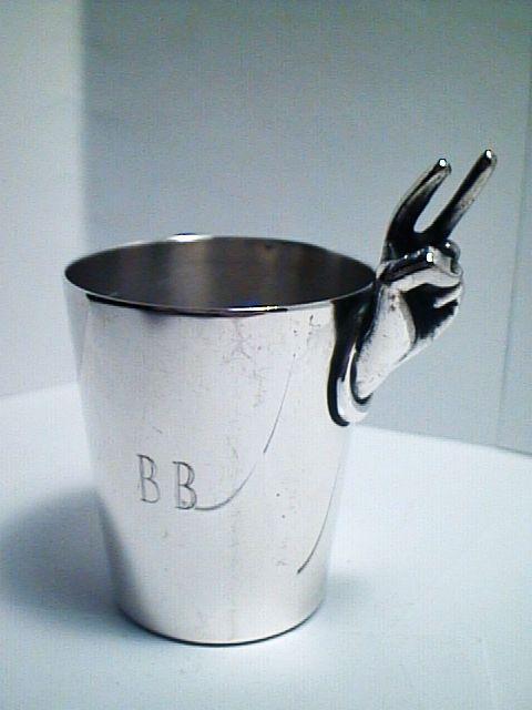ANTIQUE 1930 ART DECO NAPIER 2 OZ SILVER LIQUOR SHOT CUP #3 EXCELLENT #NAPIER