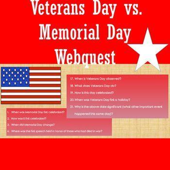 Veterans Day vs. Memorial Day Webquest | Veterans day ...